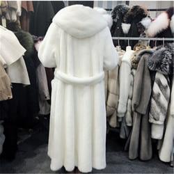 Abrigo con capucha de invierno nuevo 2020 de piel de moda femenina de talla grande abrigo de piel larga sólido de gama alta abrigo de Chaqueta de piel de visón caliente mujeres Parque