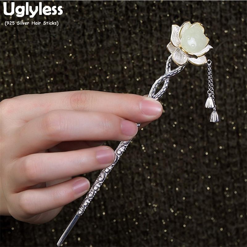 Uglyless Classic Eastern Lotus Flower Hair Sticks For Women Natural Jade Flower Lotus Hair Jewelry Real 925 Silver Forks Tassels