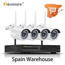 Einnov 4ch 1080 p kit de vigilância por vídeo ao ar livre sistema câmera segurança sem fio cctv nvr câmera ip wi fi conjunto áudio hd p2p onvif