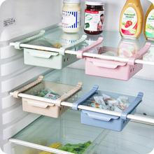 ABS Side Storage Rack Organizer Adjustable Refrigerator Shelf Holder Drawer Organiser Space Saver Fruit Snack Kitchen Rack Shelf
