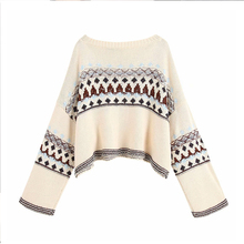 Vintage Stylish Oversized Knitted Jacquard Sweater Women 2019 Fashion Long Sleeve Short Style Pullovers Loose Chic Tops Pull