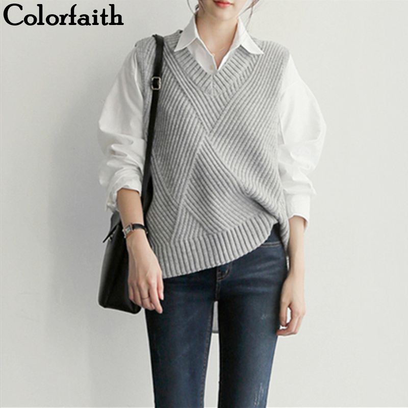 Colorfaith 2019 New Autumn Winter Women Sweaters Sleeveless Split V-Neck Vest Warm Minimalist Knitting Elegant Tops SWV9206