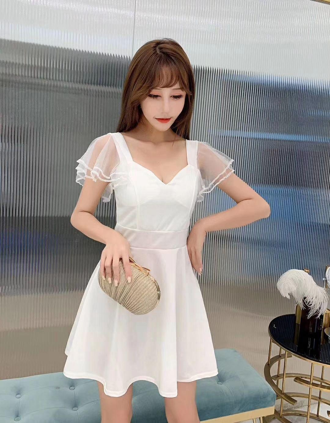 Женская одежда для ночного шоу, рабочая одежда, Новинка лета 2021, тонкое Привлекательное платье с заниженной талией и V-образным вырезом на жи...