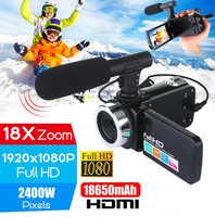 Profesional 1080P HD videocámara cámara de vídeo visión nocturna 3,0 pulgadas LCD pantalla táctil Cámara 18X Zoom Digital cámara con micrófono
