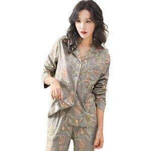Image 5 - Pyjamas Für Frauen 2020 Neue 100% Reine Baumwolle Frauen Hause Anzug XXXL Grau Floral Revers Strickjacke Top + Lange Böden 2 Pcs Frauen Pyjamas