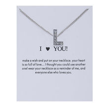 Women Crystal Alphabet Initial Letters Message Card Necklace Pendant Women Necklaces I Love You Jewelry Gift tl i love you letters heart puzzle pendant necklace gold