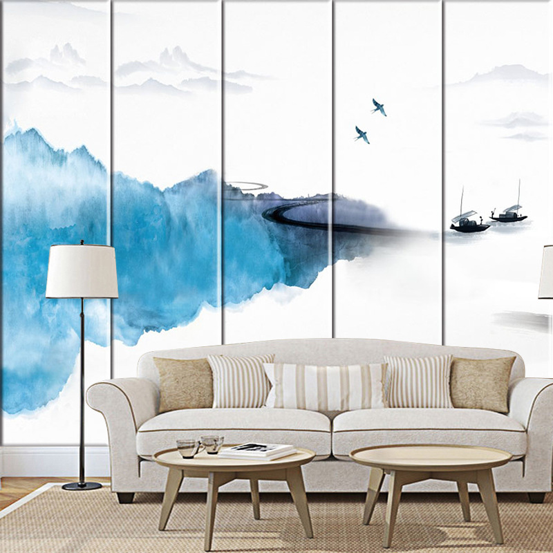 New Chinese Style Landscape Ink Hard Soft Backdrop Bedroom Bedside Soft Bag Painting Leather Customizable Soft Bag Hanging Paint
