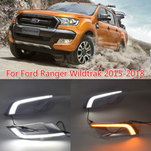 Car Flashing 2PCS For Ford Ranger Wildtrak 2015 2016 2017 2018 LED DRL Daytime Running Light Daylight Fog Head yellow turn Lamp