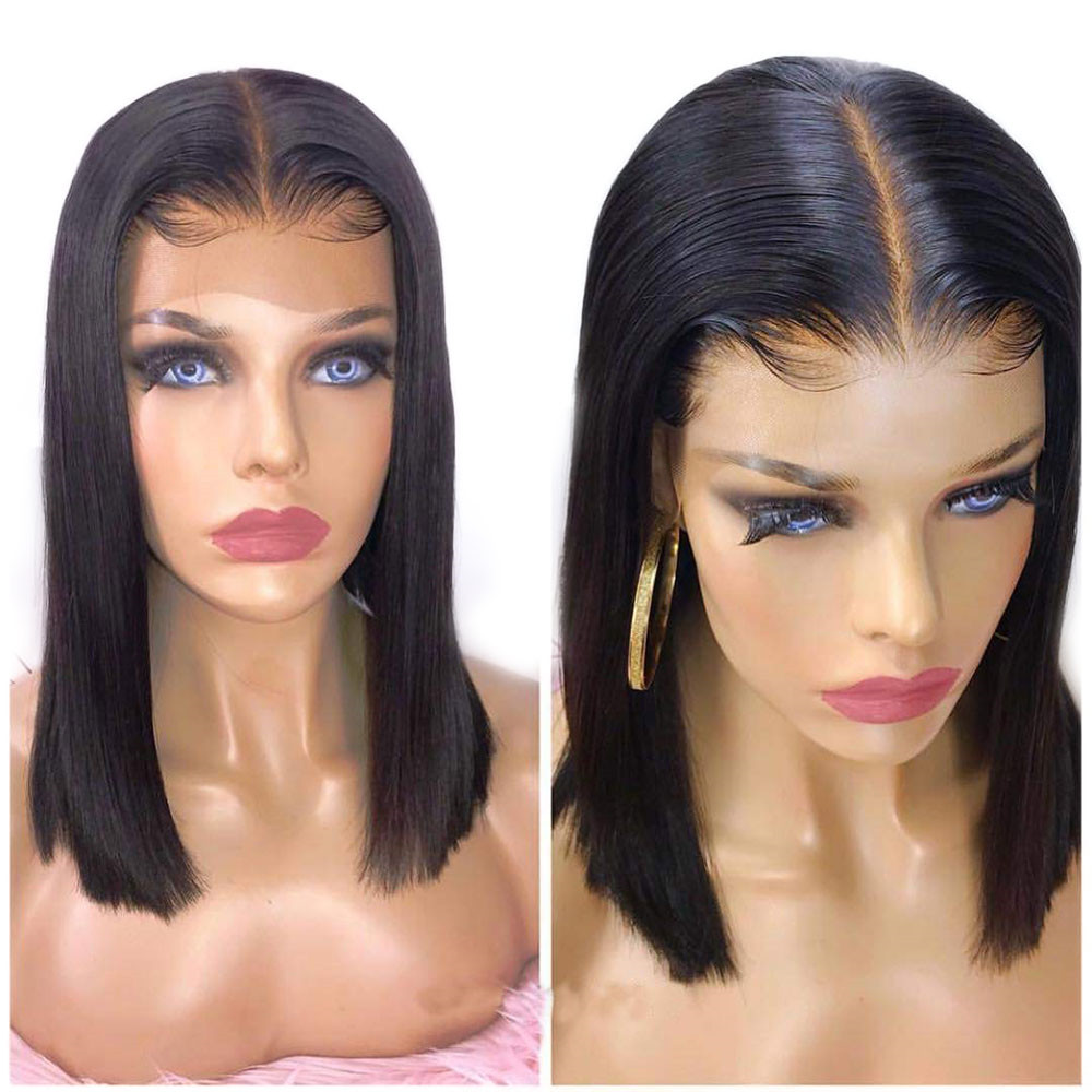 Eseewigs 13x6 Lace Front Human Hair Wigs With Baby Hair Short Bob Straight Cut Middle Part Brazilian Remy For Women