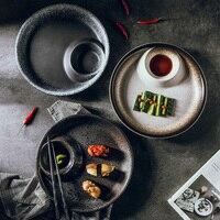 Estilo japonês placa de bolinho casa estilo criativo retro placa de bolinho placa cerâmica placa de sushi placa plana placa vegetal Aparelhos de jantar Casa e Jardim -