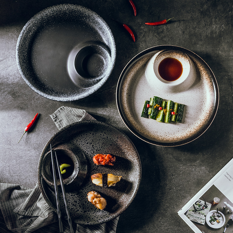 Japanese style dumpling plate home style creative retro dumpling plate ceramic plate sushi plate flat plate vegetable plate