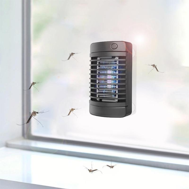 4LED Solar Mosquito Killer Lamp Electric Shock Insect Zapper Fly Trap Light Suction Cup Purple Light Mosquito Killer