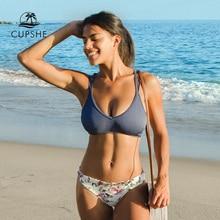 CUPSHE כחול למעלה עם פרחוני נמוך מותן תחתון ביקיני סטים סקסי תחרה עד בגד ים שתי חתיכות בגדי ים נשים 2020 חוף בגד ים