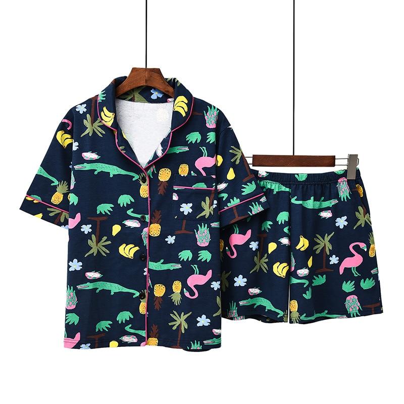 2019 Spring Summer New Style Korean-style Shorts Short Sleeve Pure Cotton Printed Set Pajamas Tracksuit