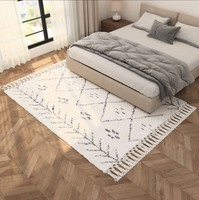 Morocco Thick Handmade Geometric Plaid Pattern Living Room Rug Turkey Beige White Home Decoration Bedroom Carpet With Tassel
