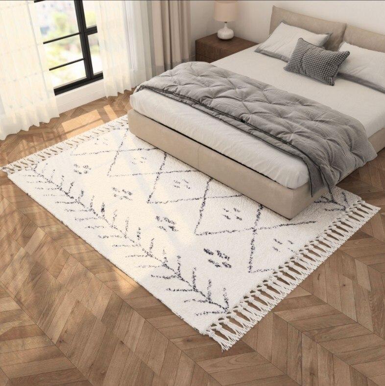 Tapis de salon motif à carreaux géométriques fait main épais maroc turquie Beige blanc décoration de la maison chambre tapis avec gland
