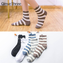 New Autumn Winter Women's Striped Socks Japanese Korean Tube Socks Girls' Cartoon Cute Cat 3D Eared Happy Socks(China)