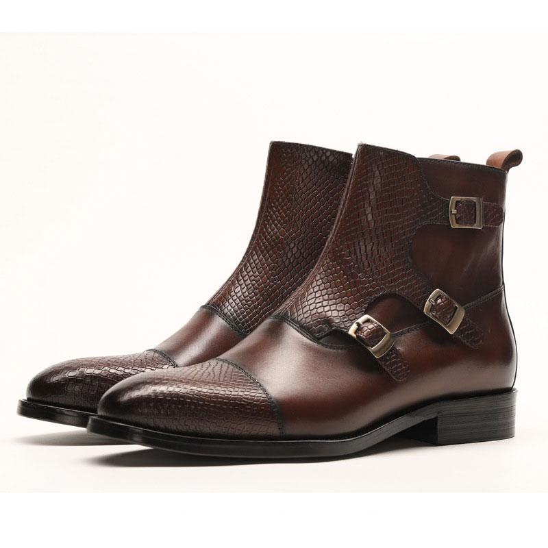 Botas de vestir de cuero genuino para hombres, botas de vestir para hombres, zapatos de hombre británico, con hebilla, botas de trabajo para hombres - 2
