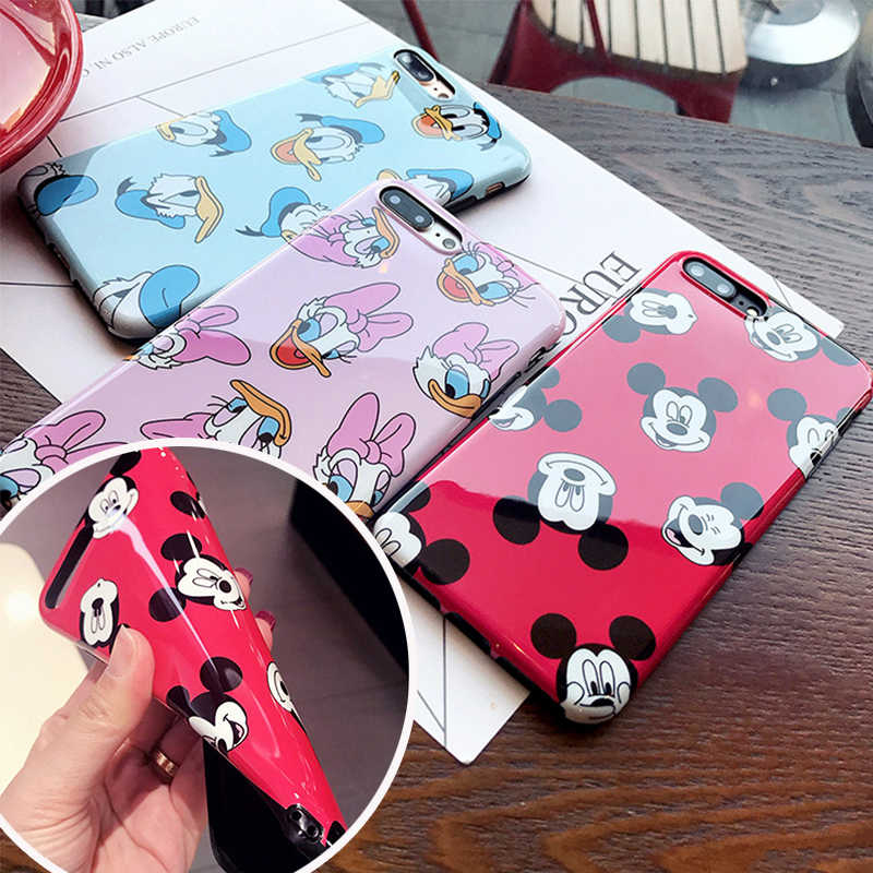 Lindo de silicona suave funda de Mickey Coque iPhone XR Xs Max 6s 6 7 8 Plus cómic Daisy 7 8 Plus iPhoneX cubierta iPhone tapa Capa