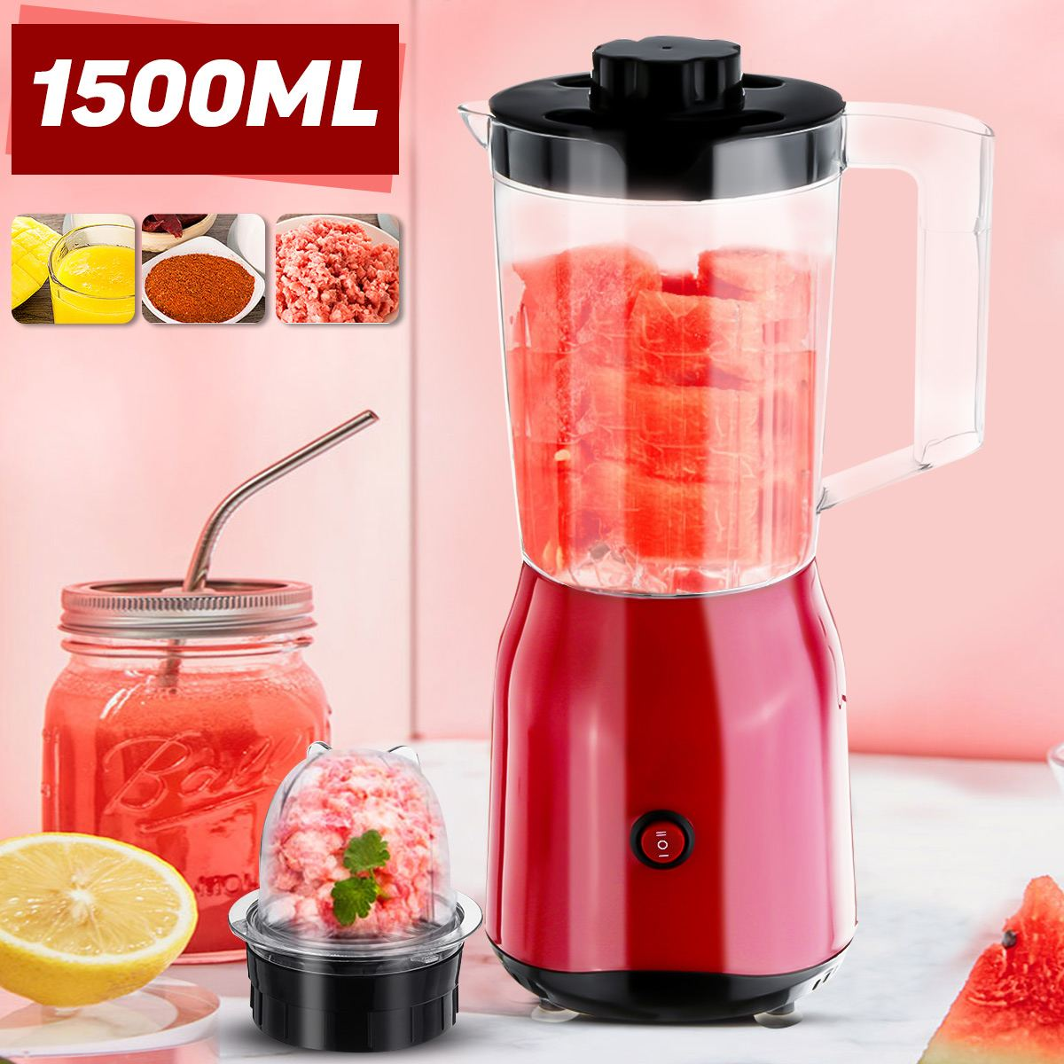 1500ml 220V 2 Stall Multi-functional Nutrition Machine Juice Blenders Fruit Juicer Mixer Timer-Blenders Ice-Crusher Food-Process