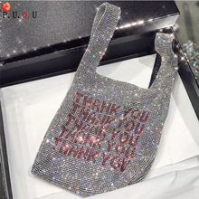 Thank You Sequins Bags Women Small Tote Crystal Bling Fashion Lady Bucket Handbags Vest Girls Glitter Purses Brand #M