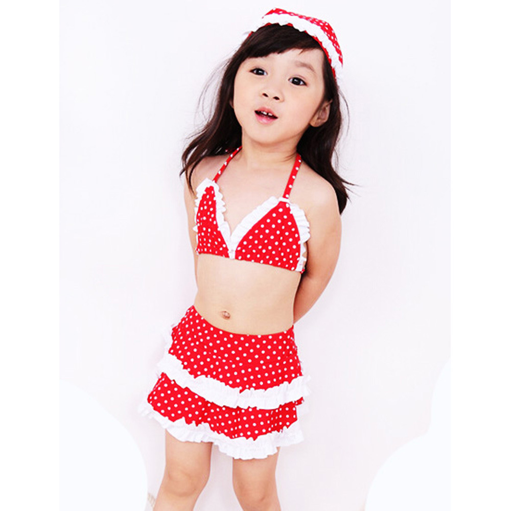 Europe And America KID'S Swimwear Girls' Two-piece Swimsuit Three-piece Set Red Polka Dot Bikini Bathing Suit Children Bathing S