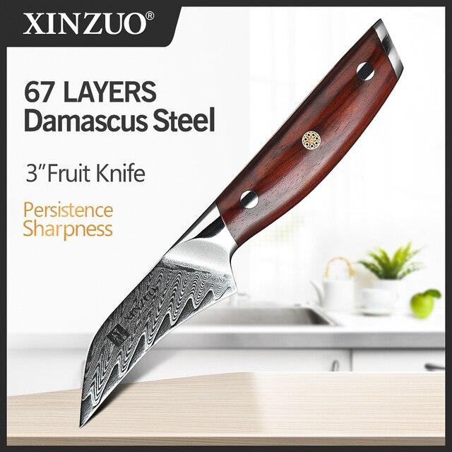 "XINZUO 3"" inch Paring Knife Japanese Damascus Steel VG 10 Ergonomic Mosaic Rivet Rosewood Handle Fruit Peeling Kitchen Knife"