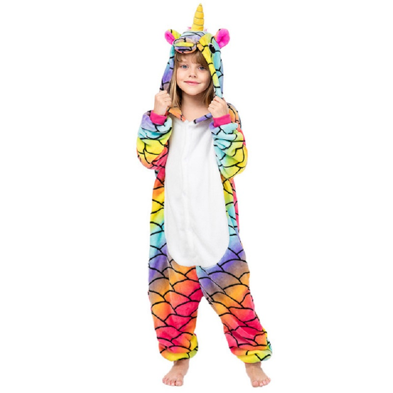 Boys Girls Kids Novel Tassel Sleepwear Winter Pyjamas Onesies Size 4-12 Years Animal Kigurumi New Pijama Flannel Unicorn Pajamas