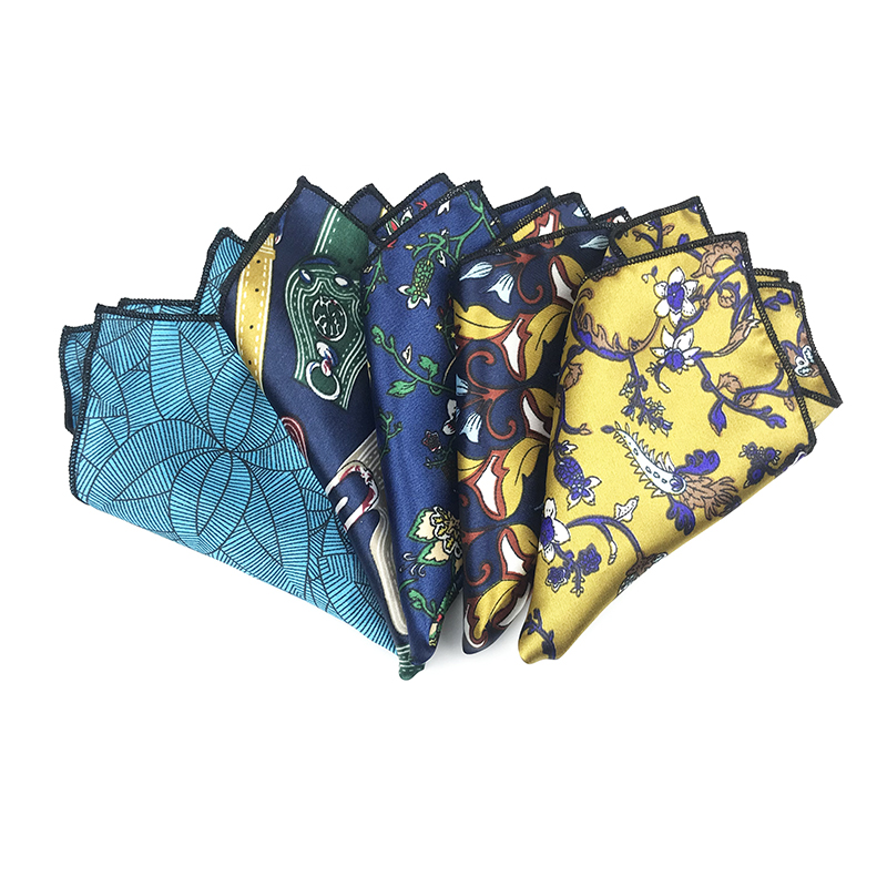 100% Polyester Printing Colorful Pocket Squares For Men