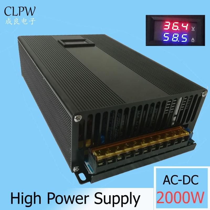 Switching Power Supply digital 2000w DC 0-24V 36V 55A 48V 42A 55v 60V Driver Led Light Stepper moter transformer AC-DC SMPS