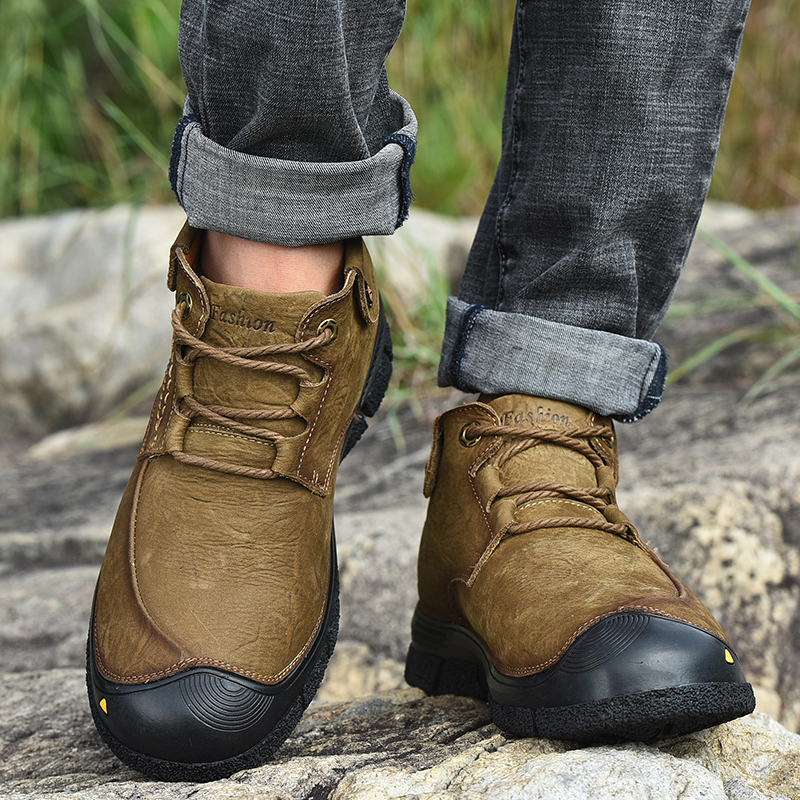 2019 Men Shoes Leather Winter Shoes Men Warm Comfortable Mans Footwear Fur Waterproof Ankle Boots Men Lace up Shoes Big Size - 3