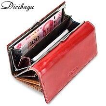 Dicihaya 女性のオイルワックス革財布ロング牛革の高級ブランド財布カードホルダー電話財布女性ビッグクラッチバッグ