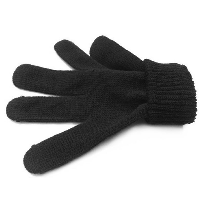 12Pairs Black Magic Gloves Adult Children Full Five Fingered Stretchy Knitted Winter Warmer Solid Color One Size LX9E