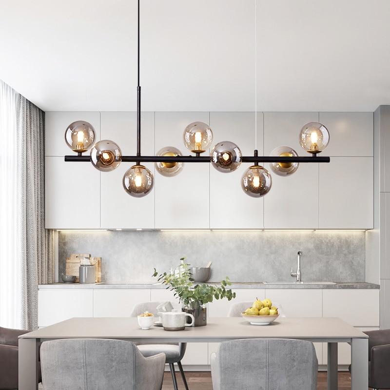Скандинавская светодиодная Люстра для кухни, гостиной, столовой, современная стеклянная Подвесная лампа в форме шара, дизайн внутреннего о...