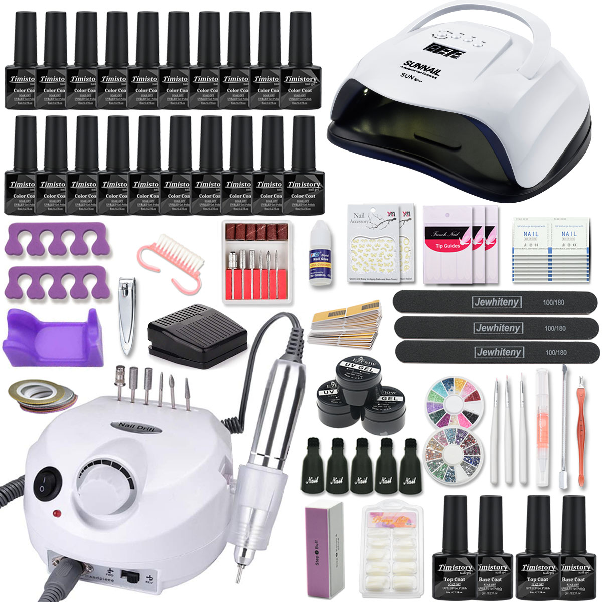 Manicure Set Nail Kit 120/80/54W UV led Lamp With 20PCS Gel Varnish Set Electric Nail Drill Manicure Tool Kit Nail Extension Kit