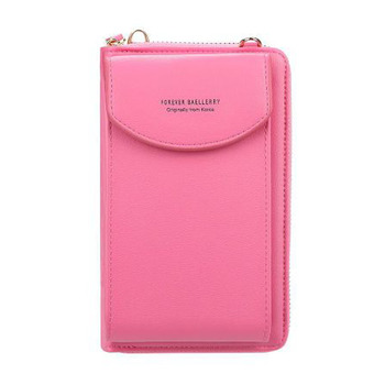 2020 new ladies wallet solid color small Messenger bag multi-function cell phone pocket portable with chain shoulder bags - rose red, One Size