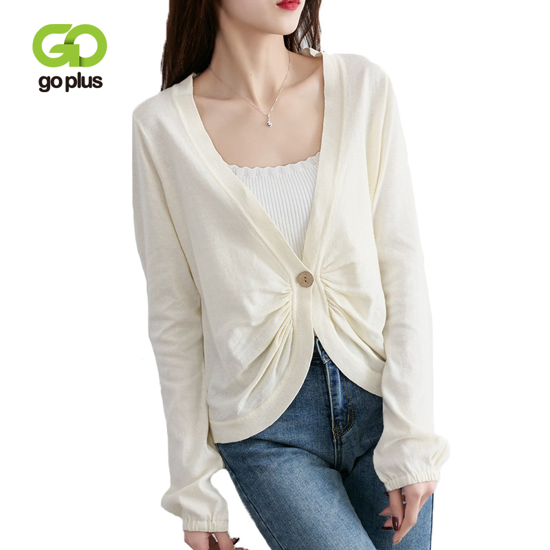 GOPLUS Knitted Cardigans Womens Casual Summer Spring White Long Sleeve V-Neck Single Button Thin Sweater Coat 2019 C8069
