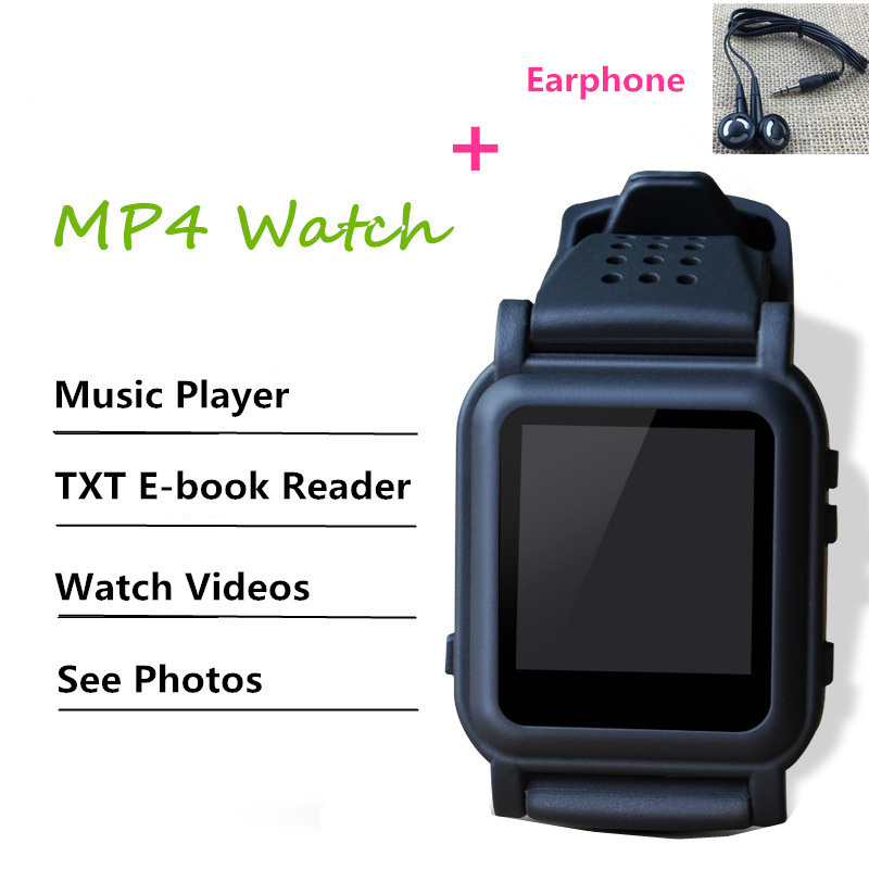 DZ12 Smart Watch 8GB 4GB MP3 MP 4 Player with Earphone Support E-book Reader Music Video Picture Viewer Watch MP 4 MP3 watch image