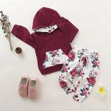 Autumn Baby Girls Clothes Set Long Sleeve Flower Print Hoodie Sweatshirt Tops+Pants Trouser Newborn Child Costume Set girls flower print hoodie
