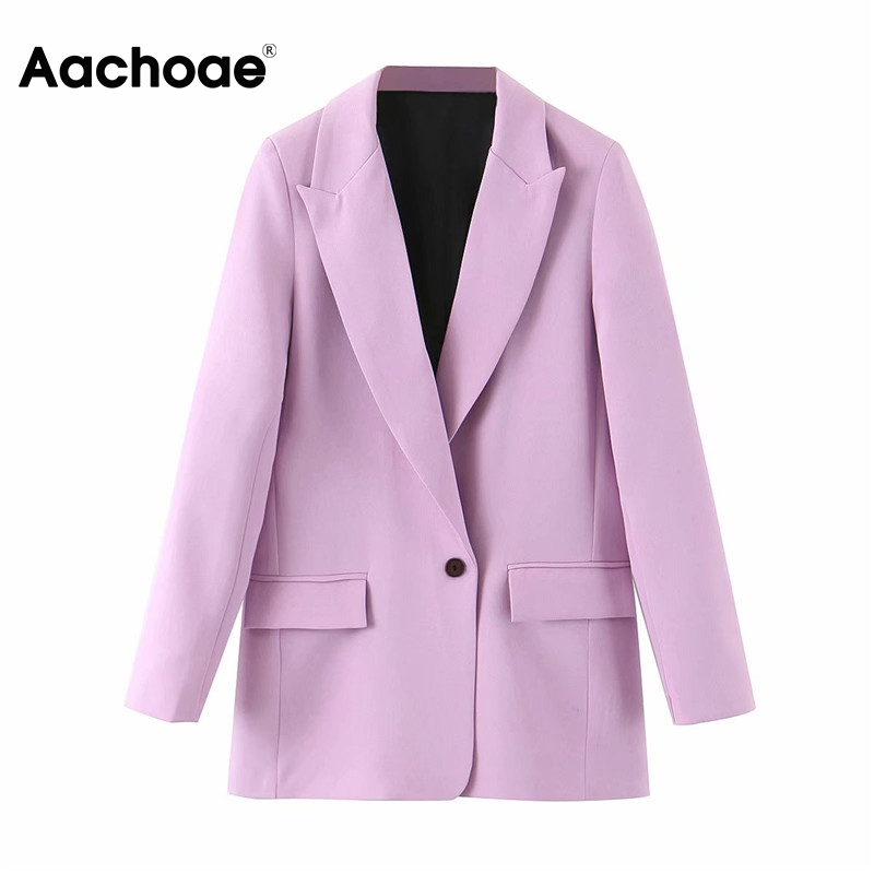 Aachoae Women Office Wear Suit Blazer 2020 Solid Casual Single Breasted Coat Jacket Long Sleeve Notched Collar Pockets Blazers