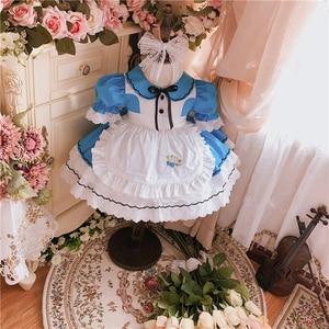 2 uds verano Lolita español vestido de princesa Turke vestido para chica azul delantal para ayudante en limpieza mangas de soplo cortas vestido de fiesta de cumpleaños