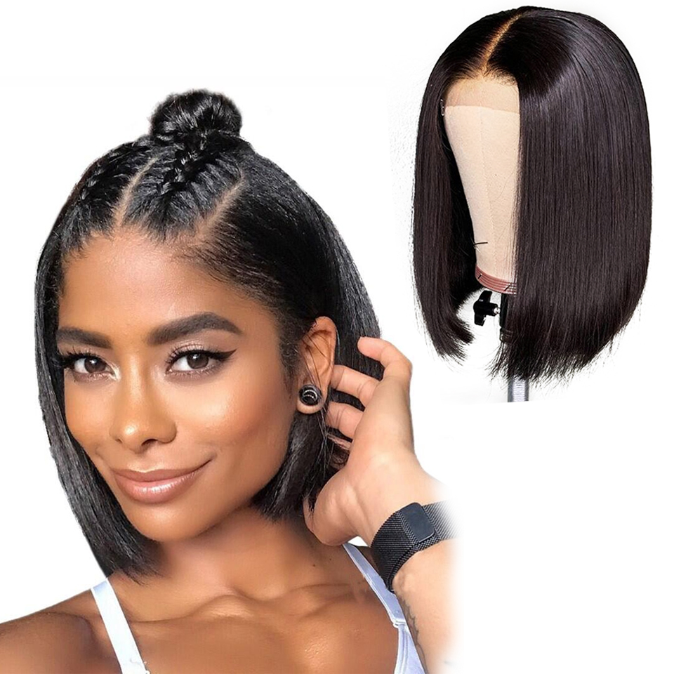 Haever 4x4 Short Bob Wigs Lace Closure Wig Human Hair Wigs Straight Pre Plucked Hairline Baby Hair 150% Brazilian Non-Remy Hair