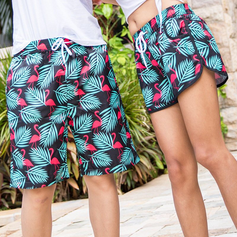 2018 New Style Beach Shorts Europe And America Couples Beach Shorts Quick-Dry Travel Summer Shorts Flamingo Men's