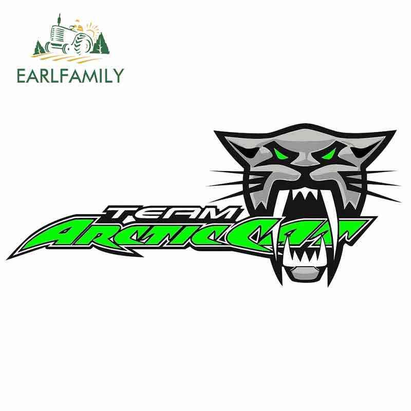 EARLFAMILY 13cm x 12.4cm for Team Arctic Cat Roar Anime Funny Car Stickers Cartoon Vinyl JDM Bumper Trunk Truck Graphics Decal