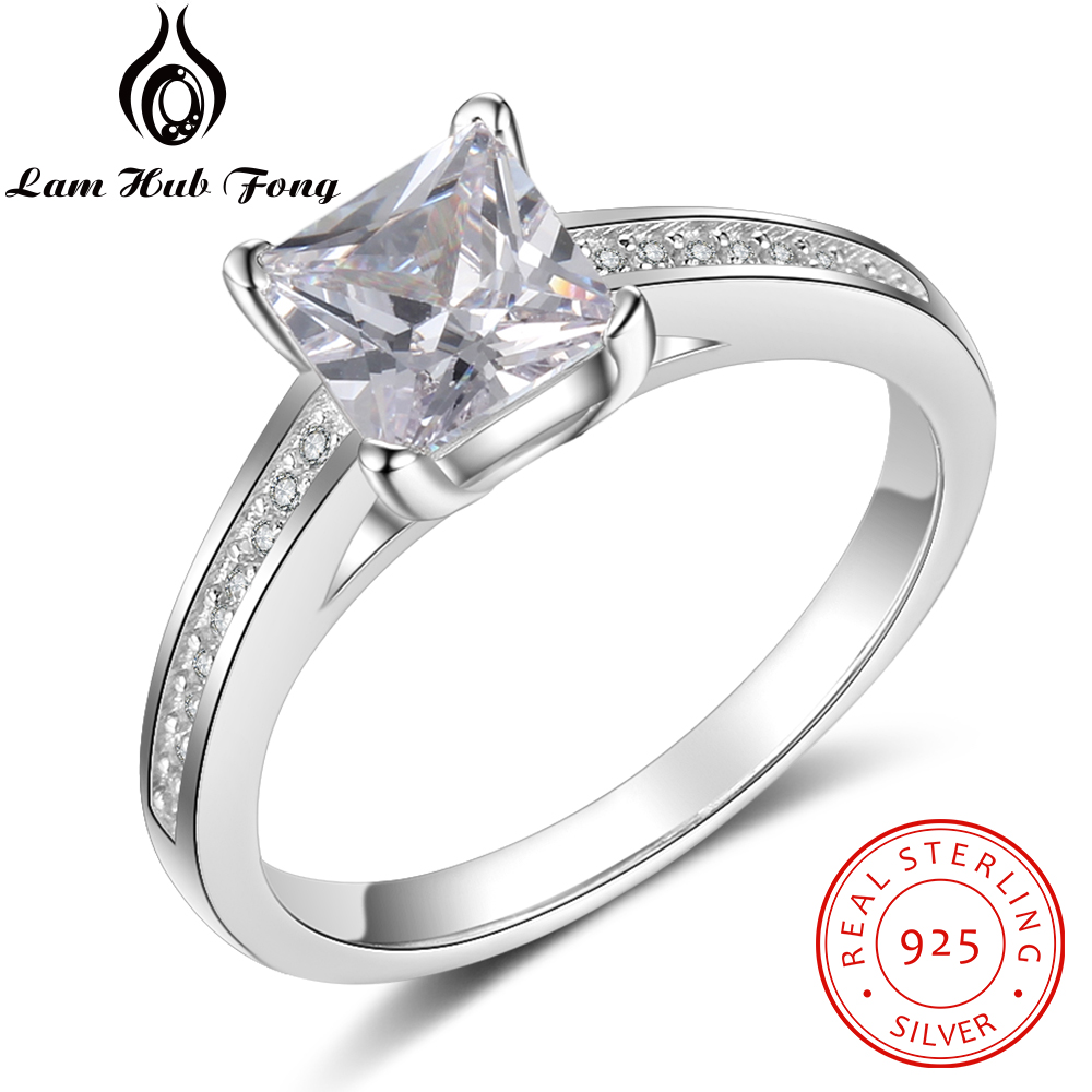 Genuine 925 Sterling Silver Rings For Women Minimalist Round Finger Ring Wedding Engagement Gift Fine Jewelry (Lam Hub Fong)