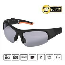Okulary przeciwsłoneczne z kamerą Bluetooth przenośna kamera sportowa 1080P HD wideorejestrator okulary zestaw słuchawkowy do wspinaczki na zewnątrz tanie tanio Rondaful Brak SMARTPHONES CN (pochodzenie) Other Nie-Wciągające Red blue Bluetooth Sunglasses Okulary Tylko Pakiet 1