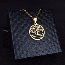 Pendentif arbre de vie pour femmes, colliers couleur or, en acier inoxydable, bijoux en titane de haute qualité, cadeaux pour amoureux