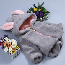 Oeak 1-3y Baby Sweaters Baby Infant Girls Boys Autumn Winter Hooded Solid Rabbit ears Jacket Thick Warm coat iyeal little rabbit thick warm clothes fashion cute baby infant girls autumn winter hooded coat cloak jacket for 1 4 years