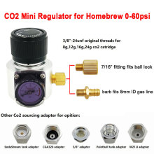 Co2 Mini Gas Regulator,Sodastream,Paintball,CGA320,W21.8 Tank,Disposable Cartridge Adapter for Homebrew Beer Cornelius/Corny Keg