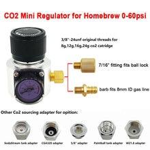 Co2 미니 가스 레귤레이터, Sodastream,Paintball,CGA320,W21.8 탱크, Homebrew Beer Cornelius/Corny Keg 용 일회용 카트리지 어댑터